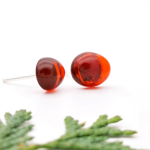 Baltic Amber Silver Stud Earrings, Sterling Silver Cherry Amber Simple Stud Earrings, Amber Stone Studs, Oval Red Gemstone Stud Earrings