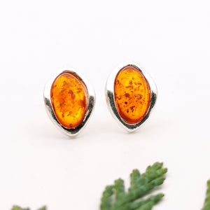 Small Baltic Amber Silver Clip On Earrings, Dainty Sterling Silver Amber Simple Clip On Earrings, Minimalist Amber Gemstone Clip On Earrings