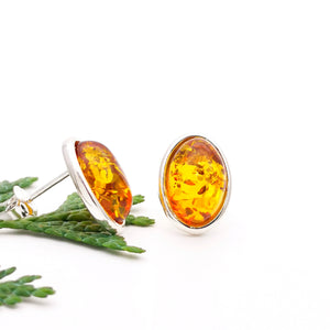Classic Oval Amber Silver Stud Earrings, Sterling Silver Cherry Amber Simple Stud Earrings, Amber Stone Studs, Small Gemstone Stud Earrings
