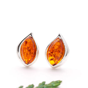 Minimalist Teardrop Amber Silver Stud Earrings, Dainty Sterling Silver Amber Simple Stud Earrings, Amber Simple Stud, Gemstone Stud Earrings