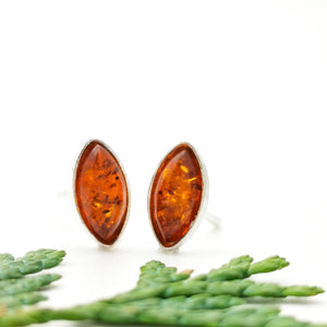 Dainty Teardrop Amber Silver Stud Earrings, Minimalist Sterling Silver Amber Simple Stud Earrings, Simple Stud, Cute Gemstone Stud Earrings