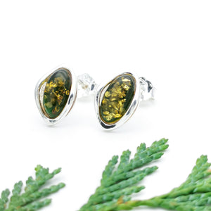Small Green Amber Silver Stud Earrings, Sterling Silver Amber Simple Stud Earrings, Classic Baltic Amber Studs, Oval Gemstone Stud Earrings