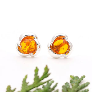 Dainty Flower Amber Silver Stud Earrings, Minimalist Sterling Silver Amber Simple Stud Earrings, Simple Stud, Cute Gemstone Stud Earrings