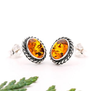 Boho Amber Stone Silver Stud Earrings, Sterling Silver Amber Simple Stud Earrings, Dainty Amber Vintage Studs, Oval Gemstone Stud Earrings