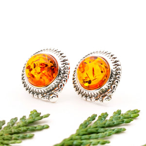 Boho Amber Stone Silver Stud Earrings, Sterling Silver Amber Statement Stud Earrings, Amber Stone Vintage Earrings, Circle Gemstone Studs