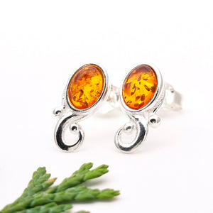 Amber Gemstone Spiral Silver Stud Earrings, Sterling Silver Amber Simple Stud Earrings, Minimalist Earrings Small Stone Modern Stud Earrings