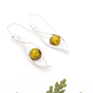 Dainty Sterling Silver Teardrop Amber Earrings, Green Amber Stone Teardrop Simple Dangle Earrings, Minimalist Gemstone Silver Drop Earrings