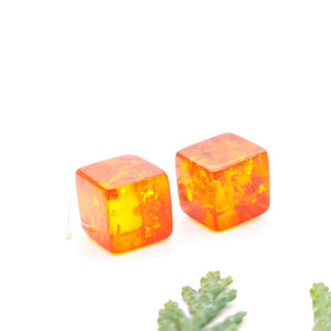 Geometric Amber Silver Dangle Earrings, Dainty Sterling Silver Amber Simple Cube Earrings, Small Square Drop Earrings Cute Gemstone Earrings