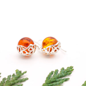 Filigree Sterling Silver Amber Dangle Earrings, Minimalist Ball Gemstone Silver Drop Earrings, Round Amber Stone Dangle Earrings, Jewelry