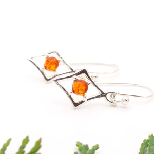 Geometric Amber Silver Dangle Earrings, Rhombus Dainty Sterling Silver Amber Simple Earrings, Square Silver Drop Earrings, Cute Gemstone