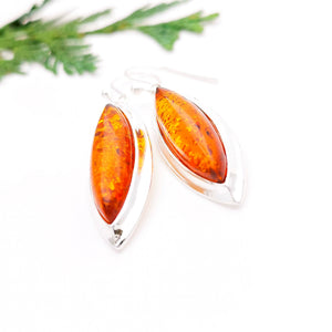 Long Teardrop Silver Amber Earrings, Large Statement Amber Dangle Earrings, Big Gemstone Sterling Silver Drop Earrings, Marquise Earrings
