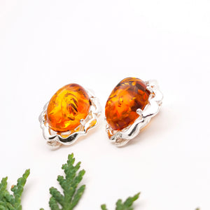 Grandma Gift Amber Silver Clip On Earrings, Statement Clip On Earrings, Large Oval Sterling Silver Amber Gemstone Simple Clip On Earrings