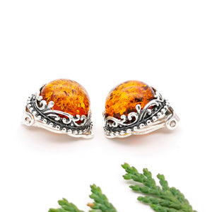 Filigree Amber Silver Clip On Earrings, Statement Amber Clip On Earrings, Vintage Earrings, Unique Earrings, Large Gemstone Clip On Earrings