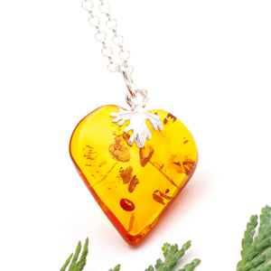 Heart Pendant Necklace, Sterling Silver Leaf Necklace, Amber Pendant, Gift for Her, Gift For Girlfriend, Statement Gemstone Heart Necklace