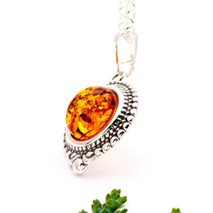 Dainty Sterling Silver Amber Boho Pendant