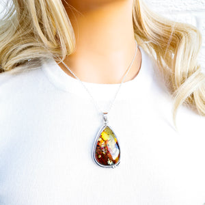 One of a Kind Necklace, Large Amber Pendant Necklace, Statement Necklace, Simple Necklace, Sterling Silver Teardrop Gemstone Necklace