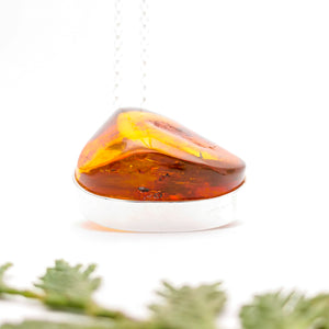 Raw Amber Gemstone Pendant, Large Sterling Silver Amber Pendant, Chunky Statement Stone Necklace, Unique Amber Pendant, Simple Necklace