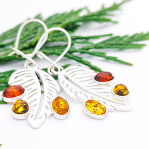Sterling Silver Leaf Dangle Amber Earrings