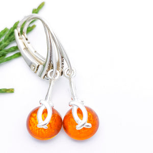 Round Amber Stone Short Drop Earrings
