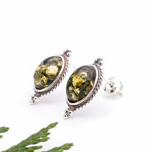 Green Amber Boho Silver Stud Earrings