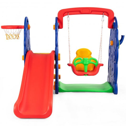3 in 1 Junior Children Climber Slide Swing Seat Basketball Hoop