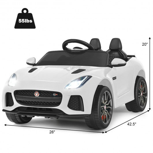 12V Jaguar F-Type SVR Licensed Kids Ride On Car-White
