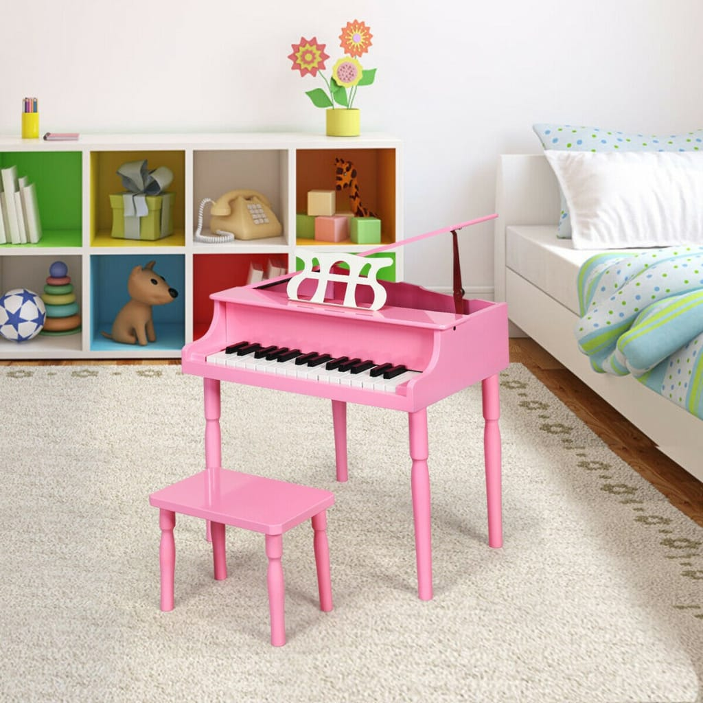 30-Key Wood Toy Kids Grand Piano With Bench And Music Rack