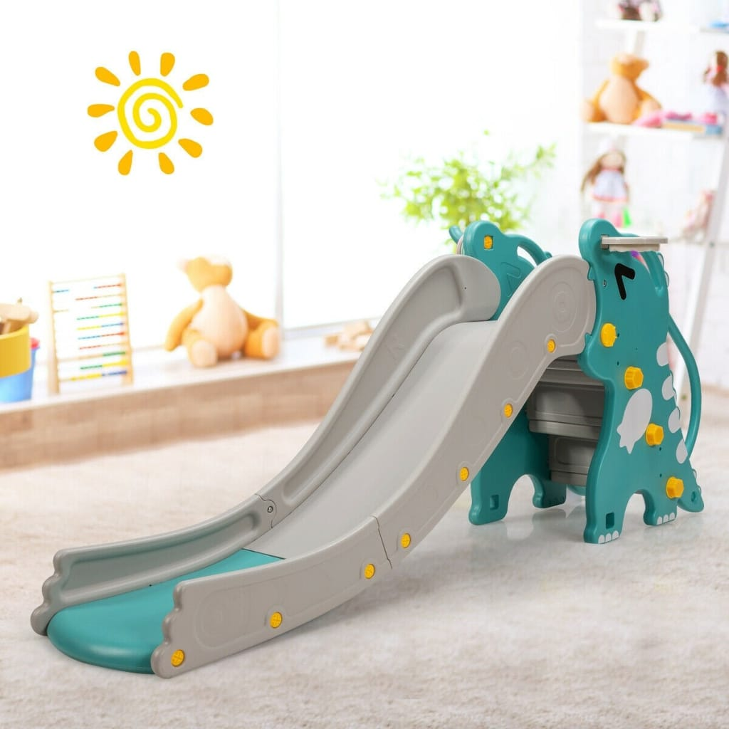 4-in-1 Kids Climber Slide Play Set With Basketball Hoop