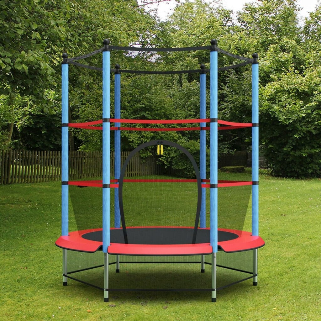 55 Youth Jumping Round Trampoline With Safety Pad Enclosure