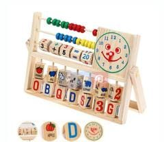 wooden clock and beads educational set