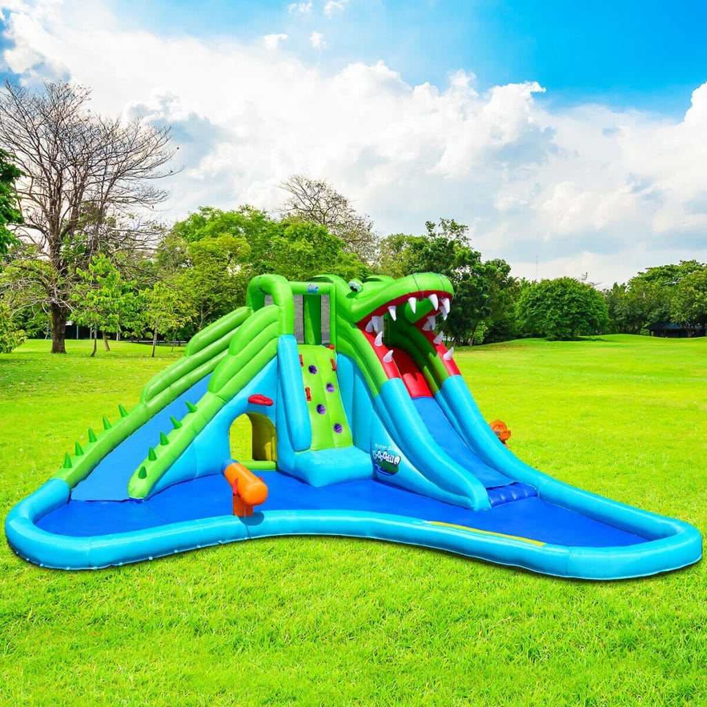 Crocodile Themed Inflatable Slide Bouncer With Two Water