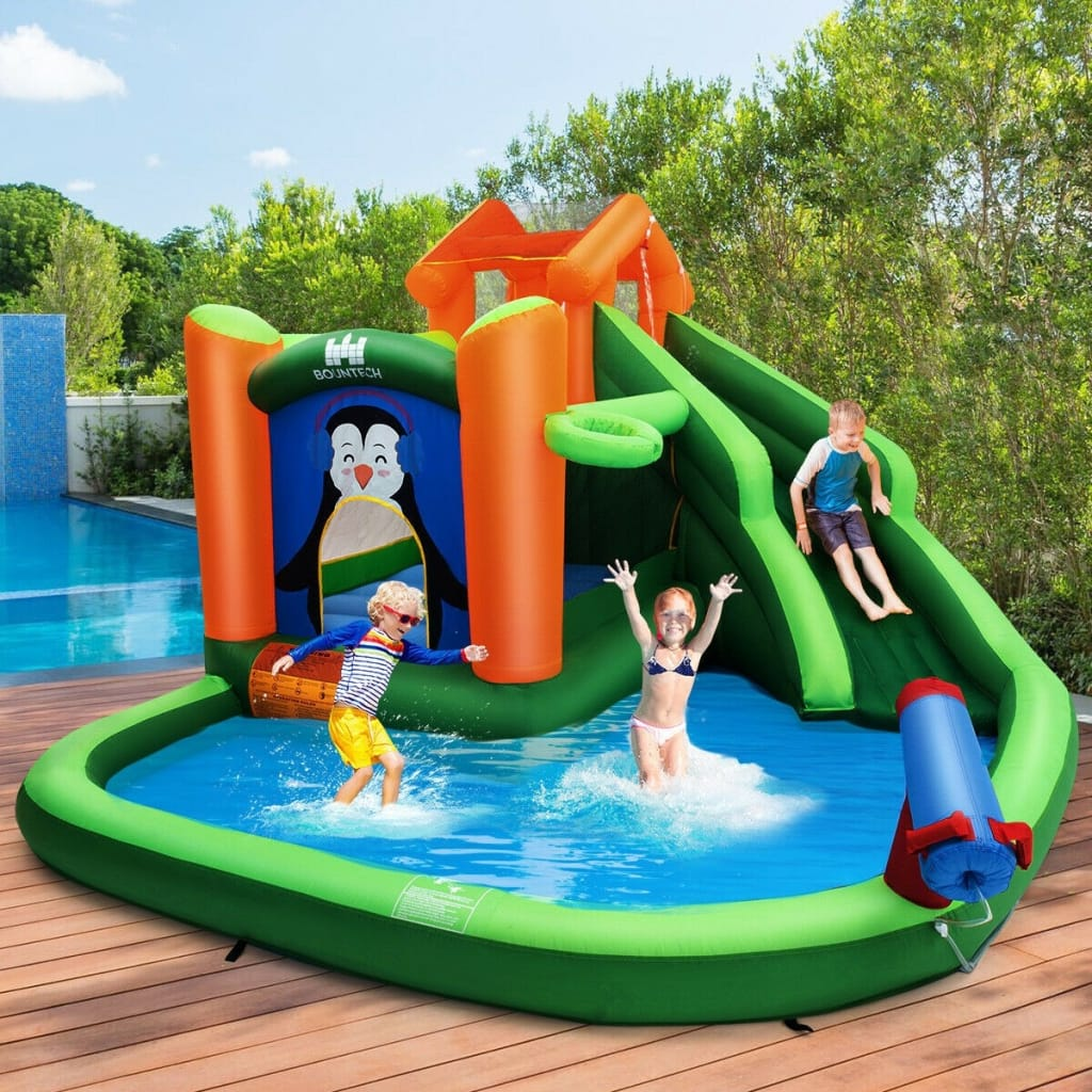 Inflatable Water Park Bouncer With Climbing Wall Splash Pool