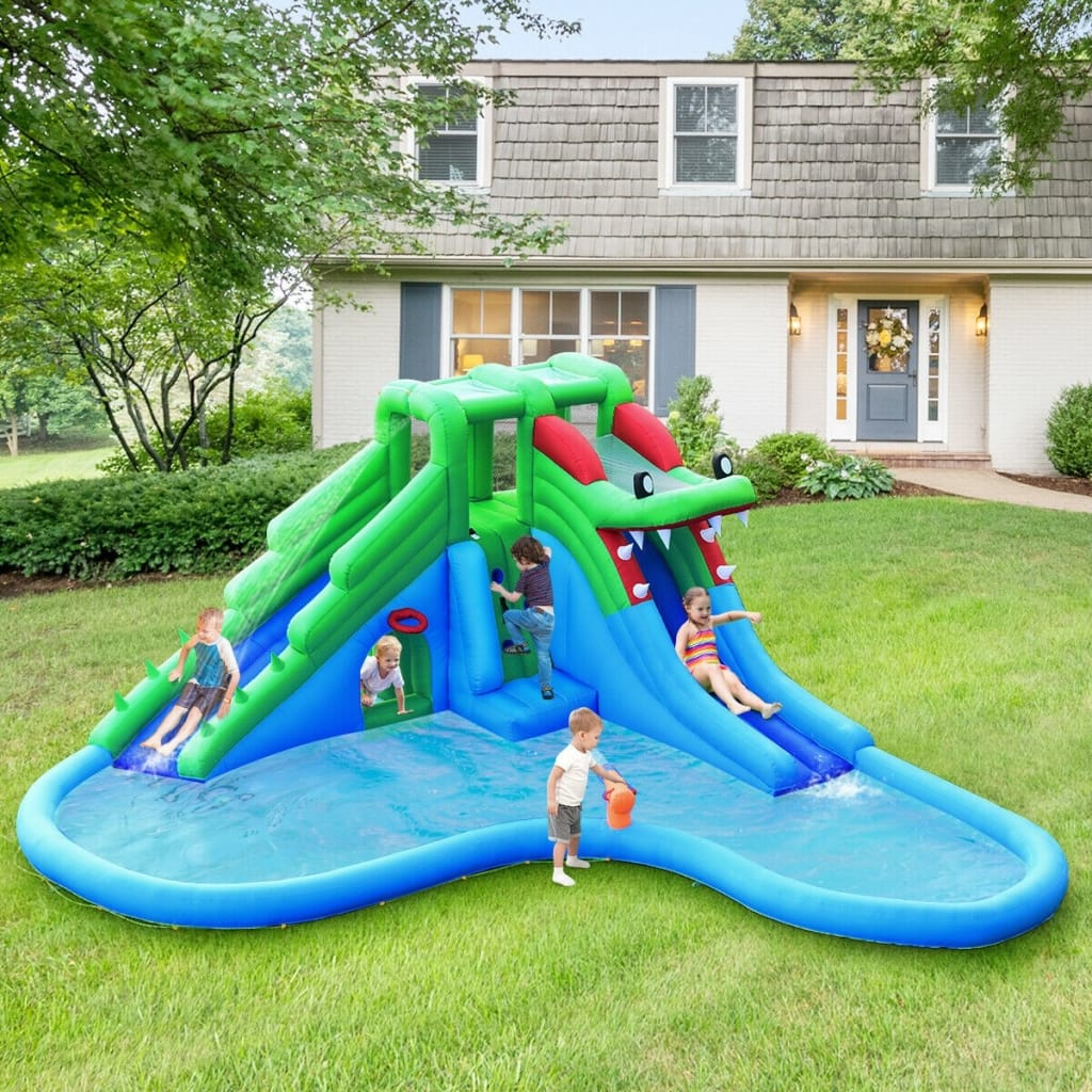 Inflatable Water Park Crocodile Bouncer Dual Slide Climbing