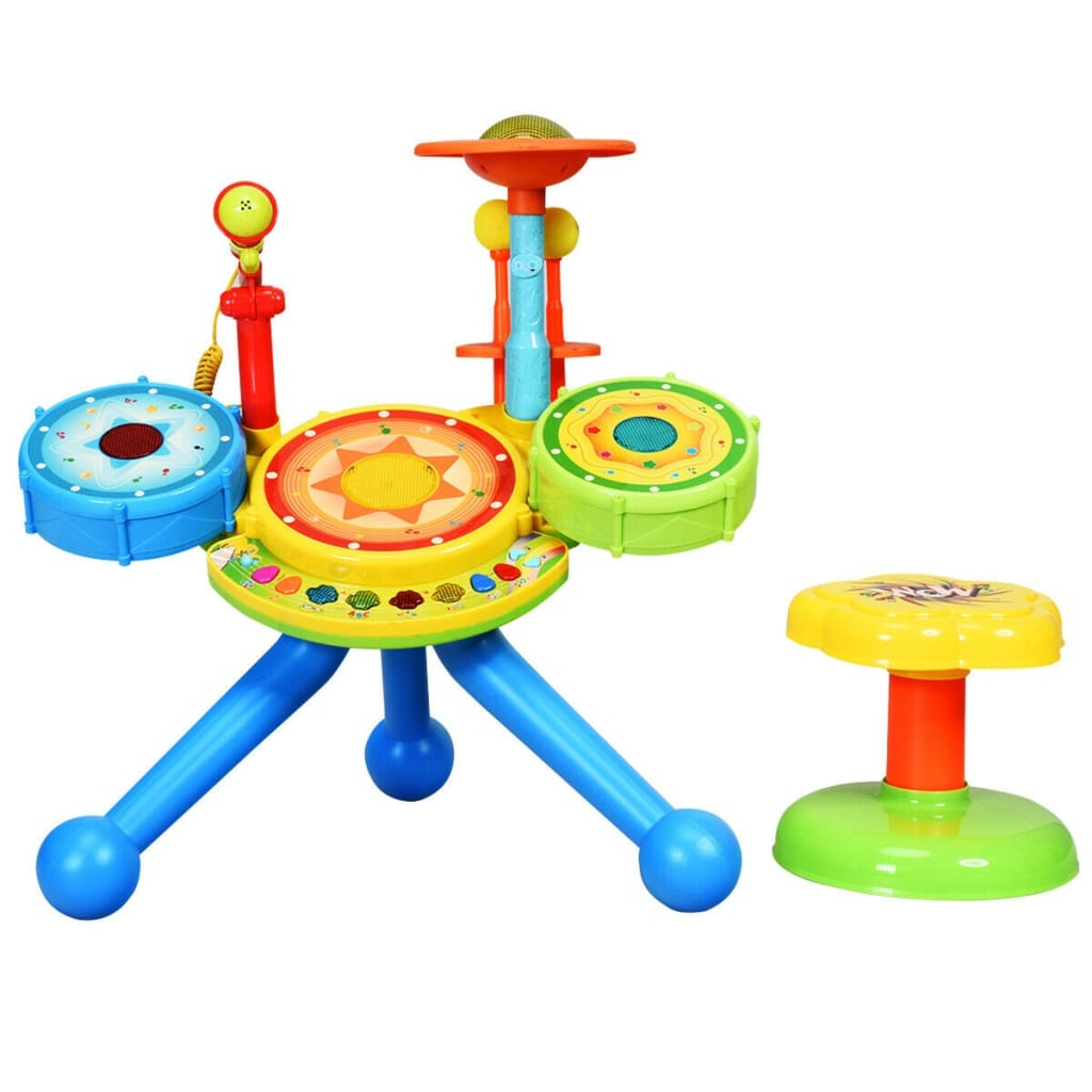 Kids Electric Jazz Drum Set With Stool Microphone And LED