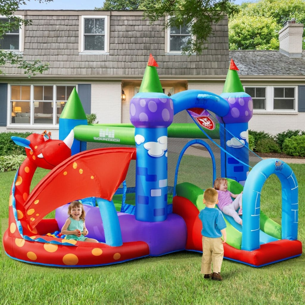 Kids Inflatable Bounce House Dragon Jumping Slide Bouncer