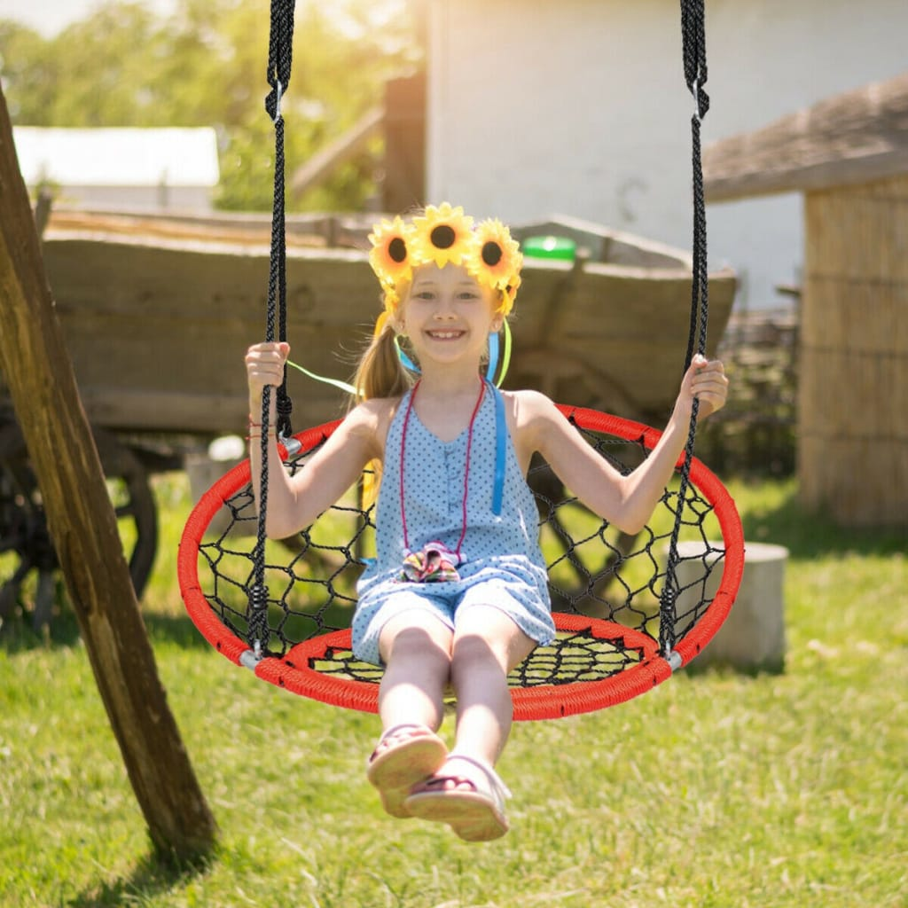 Net Hanging Swing Chair With Adjustable Hanging Ropes