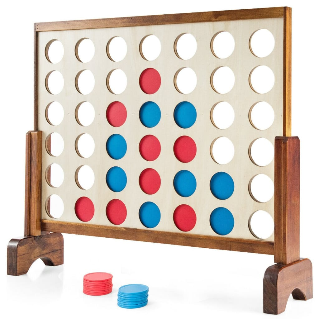 Wooden 4 In A Row Game Toy For Adults Kids With Carrying Bag