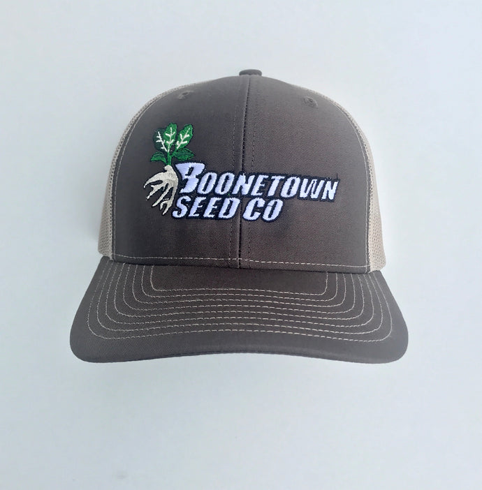 Richardson 112 Mesh Back Coffee/Khaki Boonetown Seed Logo Hat