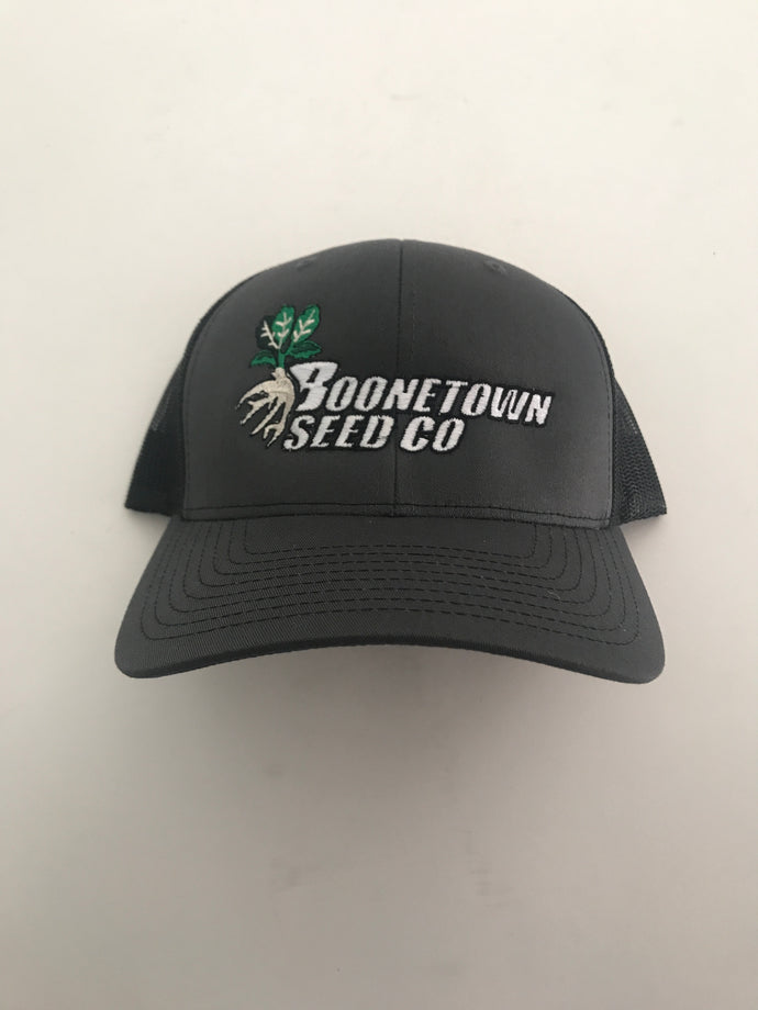 Richardson 112 Mesh Back Dark Grey and Black Boonetown Seed Logo Hat