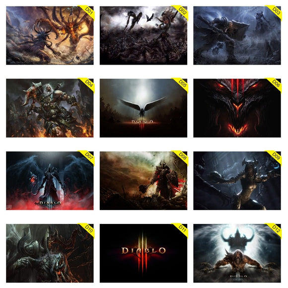 Kit 5 Placas Decorativas - Medida: 30 cm x 20 cm - Diablo 3 - Reaper Of Souls