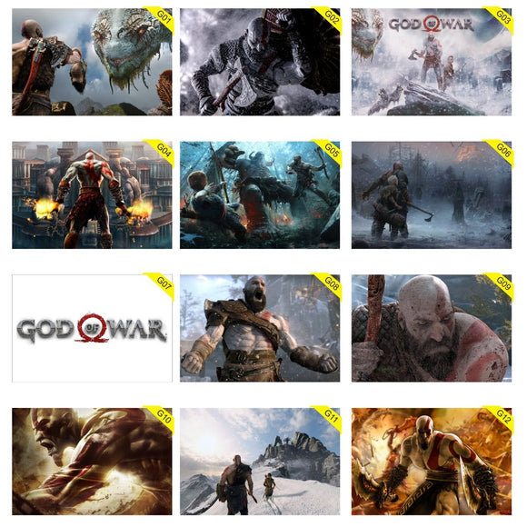 Kit 5 Placas Decorativas - Medida: 30 cm x 20 cm - God Of War
