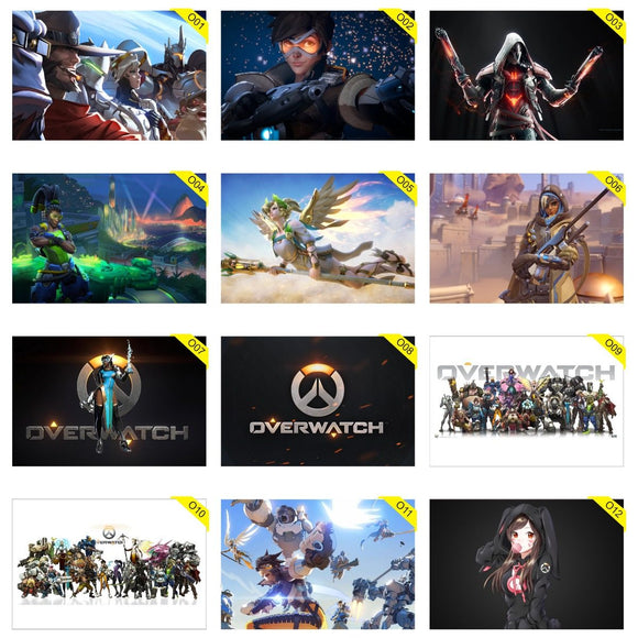 Kit 5 Placas Decorativas - Medida: 30 cm x 20 cm Overwatch