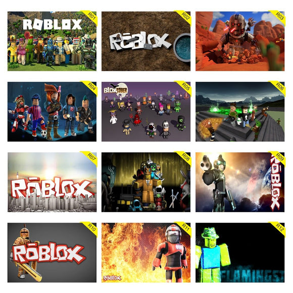 Kit 5 Placas Decorativas - Medida: 30 cm x 20 cm Roblox