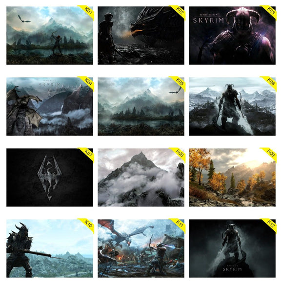 Kit 5 Placas Decorativas - Medida: 30 cm x 20 cm Skyrim