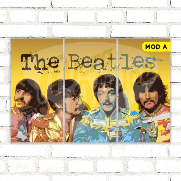 Quadro Triplo Decorativo - The Beatles - Modelo A