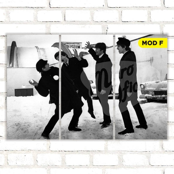 Quadro Triplo Decorativo - The Beatles - Modelo F