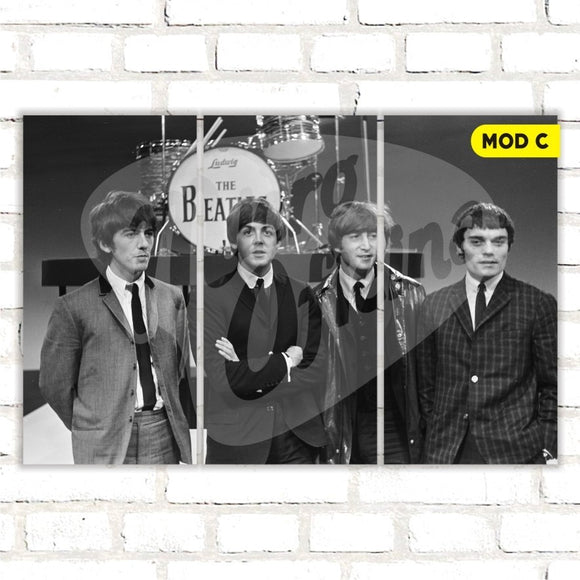 Quadro Triplo Decorativo - The Beatles - Modelo C