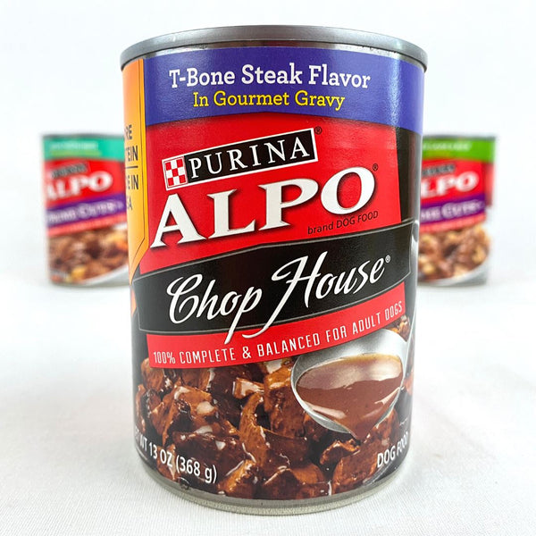 ALPO T-bone Steak Chop House Can 369g Dog Food Wet Purina