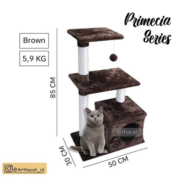 ARTHACAT Cat Tree PRIMECIA Cat House and Tree Artha Cat Tirta Surya ATS2501- Brown