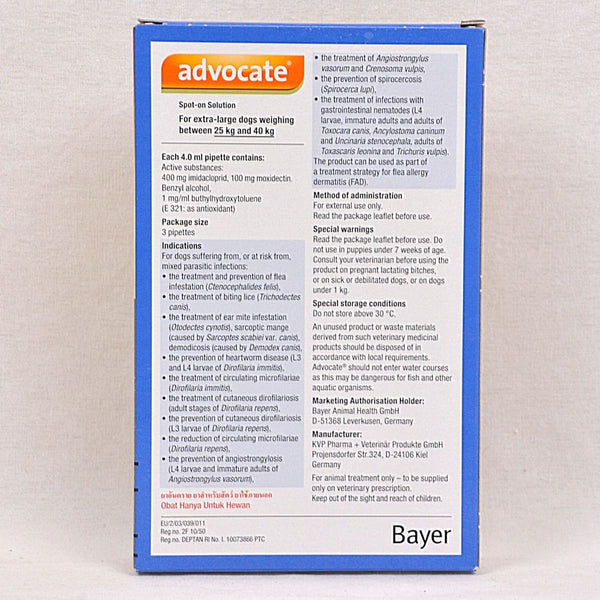BAYER Advocate For XLarge Dog 25kg+ 1pcs Grooming Medicated Care Bayer